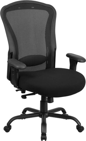 Flash Furniture LQ-3-BK-GG HERCULES Series 24/7 Intensive Use, Multi-Shift, Big & Tall 400 lb. Capacity Black Mesh Multi-Functional Swivel Chair with Synchro-Tilt - Peazz Furniture - 1