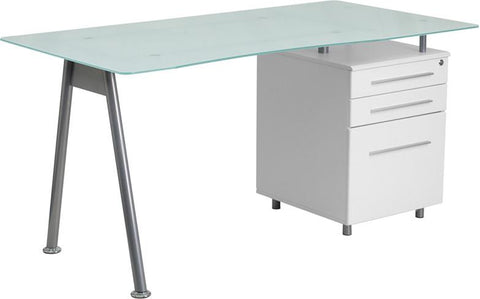 Flash Furniture NAN-WK-021-GG White Computer Desk with Glass Top and Three Drawer Pedestal - Peazz Furniture - 1