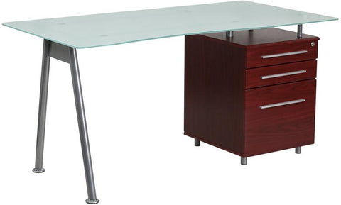 Flash Furniture NAN-WK-021-MAH-GG Glass Computer Desk with Mahogany Three Drawer Pedestal - Peazz Furniture - 1