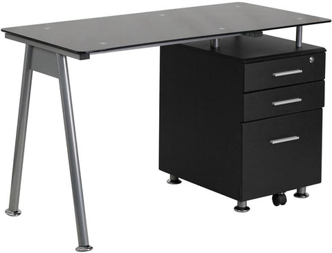 Flash Furniture NAN-WK-021A-GG Black Glass Computer Desk with Three Drawer Pedestal - Peazz Furniture - 1