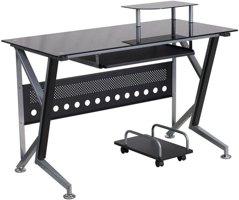 Flash Furniture NAN-WK-059-GG Black Glass Computer Desk with Pull-Out Keyboard Tray and CPU Cart - Peazz Furniture - 1