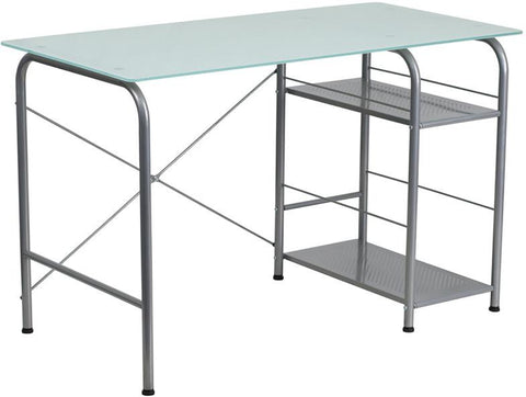 Flash Furniture NAN-WK-086-GG Glass Computer Desk with Open Storage - Peazz Furniture - 1