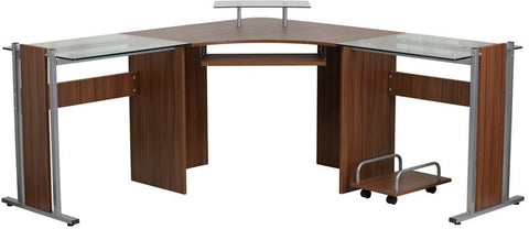 Flash Furniture NAN-WK-105-GG Teakwood Laminate Corner Desk with Pull-Out Keyboard Tray and CPU Cart - Peazz Furniture - 1