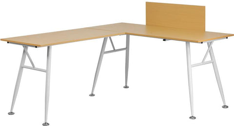 Flash Furniture NAN-WK-110-GG Beech Laminate L-Shape Computer Desk with White Frame Finish - Peazz Furniture - 1