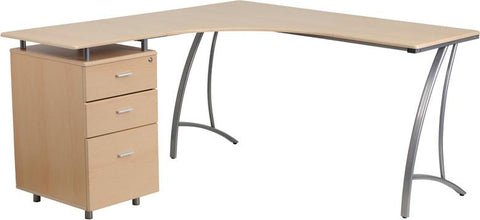 Flash Furniture NAN-WK-113-GG Beech Laminate L-Shape Desk with Three Drawer Pedestal - Peazz Furniture - 1