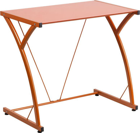 Flash Furniture NAN-WK-SD-02-OR-GG Contemporary Tempered Orange Glass Computer Desk with Matching Frame - Peazz Furniture