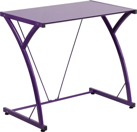 Flash Furniture NAN-WK-SD-02-PUR-GG Contemporary Tempered Purple Glass Computer Desk with Matching Frame - Peazz Furniture
