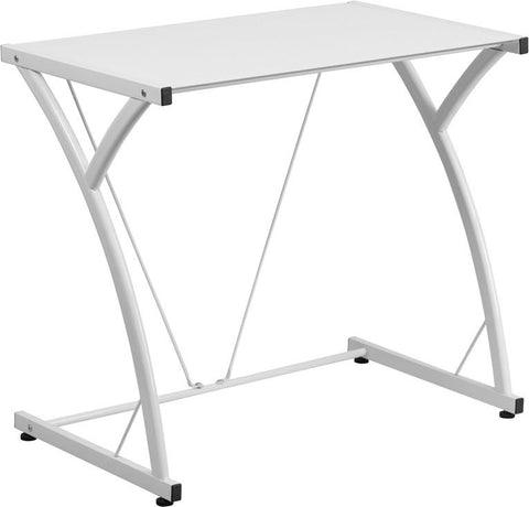 Flash Furniture NAN-WK-SD-02-WH-GG Contemporary Tempered White Glass Computer Desk with Matching Frame - Peazz Furniture