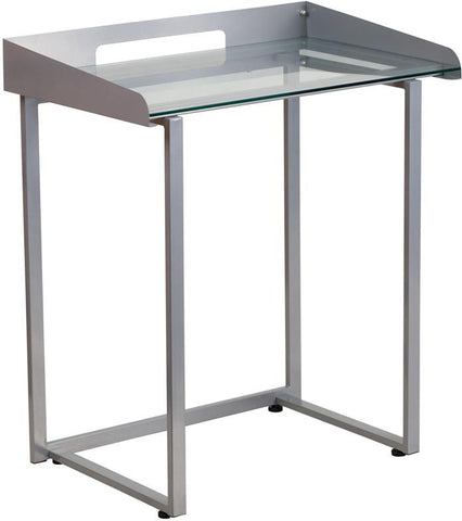 Flash Furniture NAN-YLCD1234-GG Contemporary Desk with Clear Tempered Glass and Silver Frame - Peazz Furniture - 1