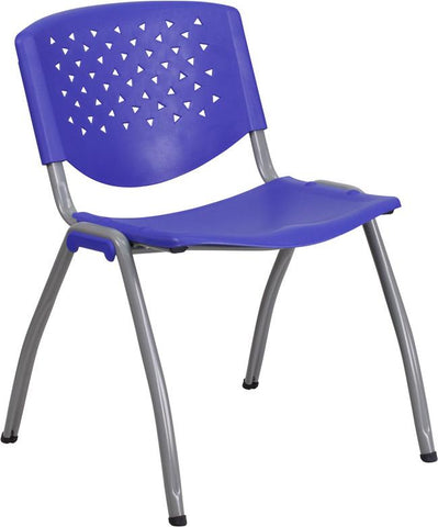 Flash Furniture RB-F01A-NY-GG HERCULES Series 880 lb. Capacity Navy Plastic Stack Chair with Gray Frame Finish - Peazz Furniture