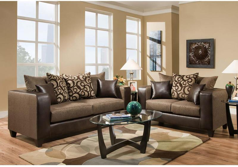 Object Espresso Chenille Living Room Set Riverstone