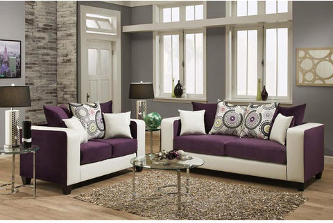 Flash Furniture RS-4120-05LS-SET-GG Riverstone Implosion Purple Velvet Living Room Set - Peazz Furniture