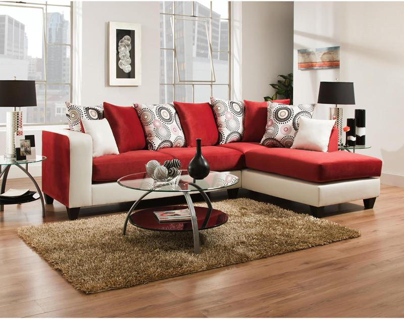 Implosion Red Velvet Sectional 17921 Product Photo