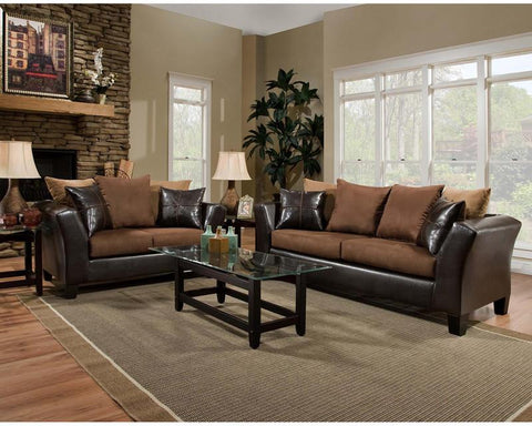 Flash Furniture RS-4170-01LS-SET-GG Riverstone Sierra Chocolate Microfiber Living Room Set - Peazz Furniture