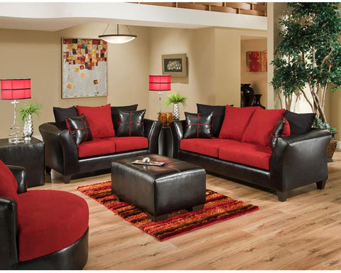 Flash Furniture RS-4170-04LS-SET-GG Riverstone Victory Lane Cardinal Microfiber Living Room Set - Peazz Furniture