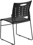 Flash Furniture RUT-2-BK-GG HERCULES Series 881 lb. Capacity Black Sled Base Stack Chair with Air-Vent Back - Peazz Furniture - 3