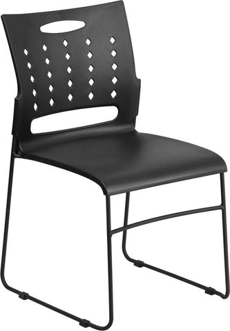 Flash Furniture RUT-2-BK-GG HERCULES Series 881 lb. Capacity Black Sled Base Stack Chair with Air-Vent Back - Peazz Furniture - 1