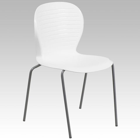 Flash Furniture RUT-3-WH-GG HERCULES Series 551 lb. Capacity White Stack Chair - Peazz Furniture - 1
