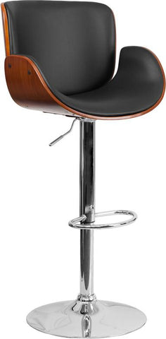 Flash Furniture SD-2690-WAL-GG Walnut Bentwood Adjustable Height Barstool with Curved Black Vinyl Seat - Peazz Furniture - 1