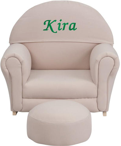 Flash Furniture SF-03-OTTO-BGE-TXTEMB-GG Personalized Kids Beige Fabric Rocker Chair and Footrest - Peazz Furniture