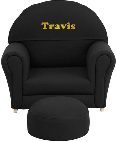 Flash Furniture SF-03-OTTO-BL-EMB-GG Personalized Kids Black Fabric Rocker Chair and Footrest - Peazz Furniture