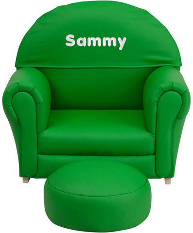 Flash Furniture SF-03-OTTO-GRN-EMB-GG Personalized Kids Green Vinyl Rocker Chair and Footrest - Peazz Furniture