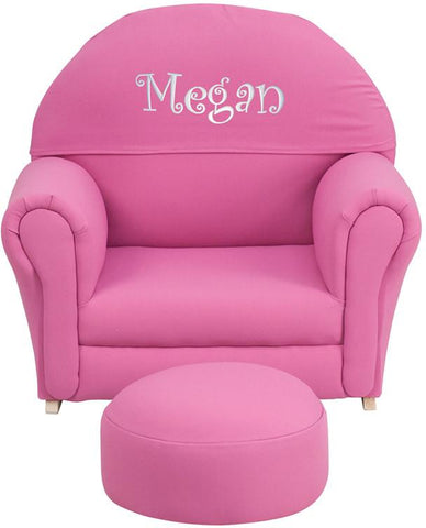 Flash Furniture SF-03-OTTO-HP-TXTEMB-GG Personalized Kids Hot Pink Fabric Rocker Chair and Footrest - Peazz Furniture