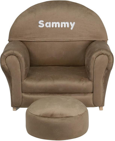 Flash Furniture SF-03-OTTO-MIC-BRN-EMB-GG Personalized Kids Brown Microfiber Rocker Chair and Footrest - Peazz Furniture