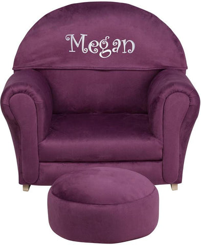 Flash Furniture SF-03-OTTO-MIC-PUR-EMB-GG Personalized Kids Purple Microfiber Rocker Chair and Footrest - Peazz Furniture