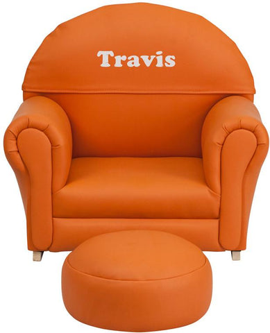 Flash Furniture SF-03-OTTO-OR-TXTEMB-GG Personalized Kids Orange Vinyl Rocker Chair and Footrest - Peazz Furniture