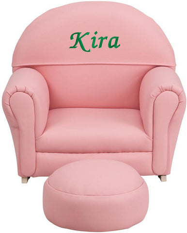 Flash Furniture SF-03-OTTO-PINK-EMB-GG Personalized Kids Pink Vinyl Rocker Chair and Footrest - Peazz Furniture