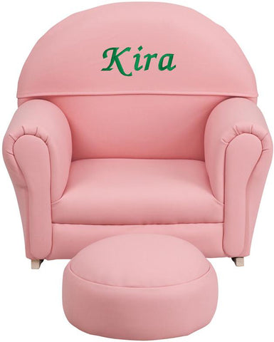 Flash Furniture SF-03-OTTO-PINK-TXTEMB-GG Personalized Kids Pink Vinyl Rocker Chair and Footrest - Peazz Furniture