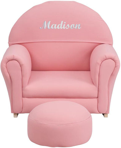 Flash Furniture SF-03-OTTO-PK-EMB-GG Personalized Kids Pink Fabric Rocker Chair and Footrest - Peazz Furniture