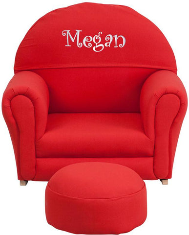 Flash Furniture SF-03-OTTO-RED-TXTEMB-GG Personalized Kids Red Fabric Rocker Chair and Footrest - Peazz Furniture