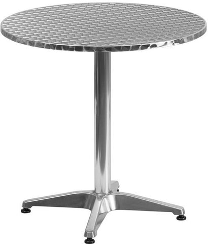 Flash Furniture TLH-052-2-GG 27.5'' Round Aluminum Indoor-Outdoor Table with Base - Peazz Furniture