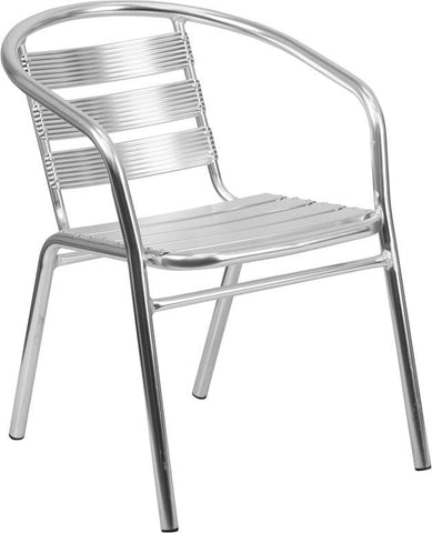 Flash Furniture TLH-1-GG Heavy Duty Aluminum Commercial Indoor-Outdoor Restaurant Stack Chair with Triple Slat Back - Peazz Furniture - 1