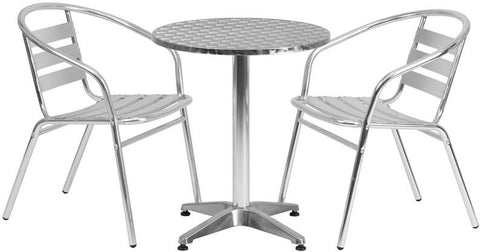 Flash Furniture TLH-ALUM-24RD-017BCHR2-GG 23.5'' Round Aluminum Indoor-Outdoor Table with 2 Slat Back Chairs - Peazz Furniture