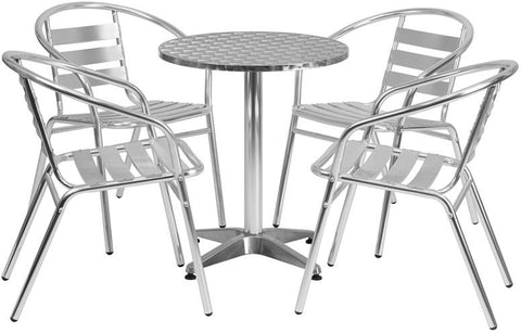 Flash Furniture TLH-ALUM-24RD-017BCHR4-GG 23.5'' Round Aluminum Indoor-Outdoor Table with 4 Slat Back Chairs - Peazz Furniture