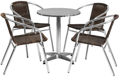 Flash Furniture TLH-ALUM-24RD-020CHR4-GG 23.5'' Round Aluminum Indoor-Outdoor Table with 4 Rattan Chairs - Peazz Furniture