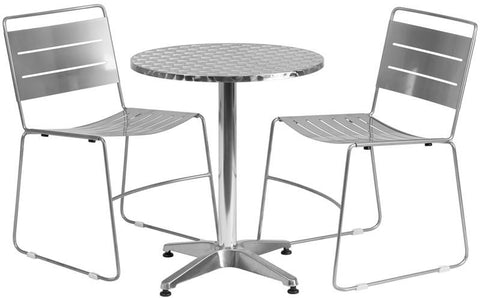 Flash Furniture TLH-ALUM-24RD-HA1SIL2-GG 23.5'' Round Aluminum Indoor-Outdoor Table with 2 Silver Metal Stack Chairs - Peazz Furniture