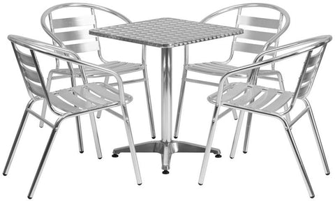 Flash Furniture TLH-ALUM-24SQ-017BCHR4-GG 23.5'' Square Aluminum Indoor-Outdoor Table with 4 Slat Back Chairs - Peazz Furniture