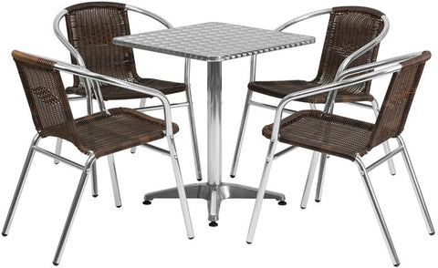 Flash Furniture TLH-ALUM-24SQ-020CHR4-GG 23.5'' Square Aluminum Indoor-Outdoor Table with 4 Rattan Chairs - Peazz Furniture