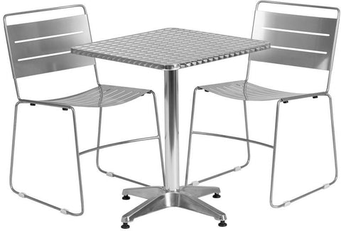 Flash Furniture TLH-ALUM-24SQ-HA1SIL2-GG 23.5'' Square Aluminum Indoor-Outdoor Table with 2 Silver Metal Stack Chairs - Peazz Furniture