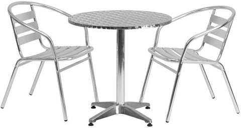 Flash Furniture TLH-ALUM-28RD-017BCHR2-GG 27.5'' Round Aluminum Indoor-Outdoor Table with 2 Slat Back Chairs - Peazz Furniture