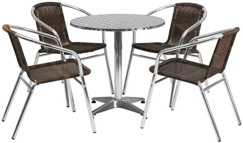 Flash Furniture TLH-ALUM-28RD-020CHR4-GG 27.5'' Round Aluminum Indoor-Outdoor Table with 4 Rattan Chairs - Peazz Furniture