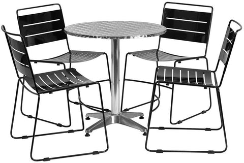 Flash Furniture TLH-ALUM-28RD-HA1BK4-GG 27.5'' Round Aluminum Indoor-Outdoor Table with 4 Black Metal Stack Chairs - Peazz Furniture