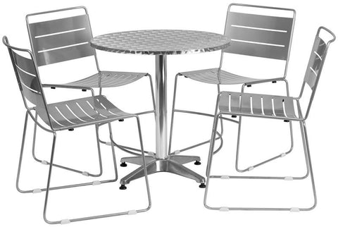 Flash Furniture TLH-ALUM-28RD-HA1SIL4-GG 27.5'' Round Aluminum Indoor-Outdoor Table with 4 Silver Metal Stack Chairs - Peazz Furniture