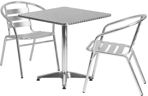 Flash Furniture TLH-ALUM-28SQ-017BCHR2-GG 27.5'' Square Aluminum Indoor-Outdoor Table with 2 Slat Back Chairs - Peazz Furniture
