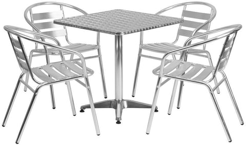 Flash Furniture TLH-ALUM-28SQ-017BCHR4-GG 27.5'' Square Aluminum Indoor-Outdoor Table with 4 Slat Back Chairs - Peazz Furniture