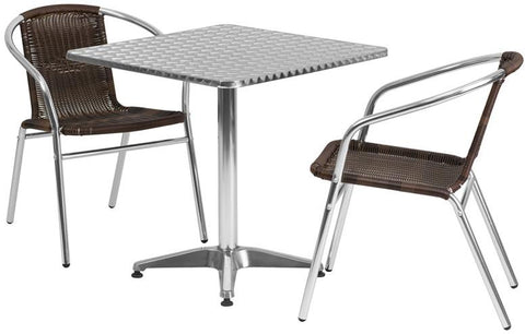 Flash Furniture TLH-ALUM-28SQ-020CHR2-GG 27.5'' Square Aluminum Indoor-Outdoor Table with 2 Rattan Chairs - Peazz Furniture